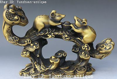 Chinese Pure Bronze Wealth Money Ru Yi Ruyi Cions Yuanbao Mouse Rat Statue