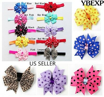 Wholesale 10pcs Grosgrain Baby Toddler Soft Elastic Hair Bow Band Accessories