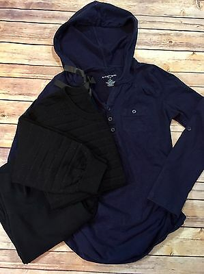3 Piece Maternity Size Small Black Bootcut Pants, Navy Hoodie, Sparkly Sweater