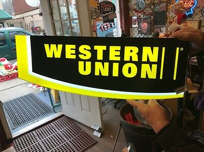 Western Union Double Sided Light Up Hanging Advertising Sign