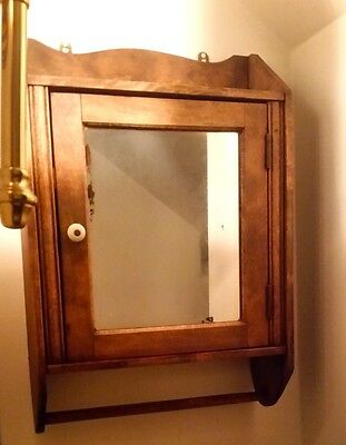 Antique bathroom wall cabinet with mirror 3 shelves, vintage country furniture