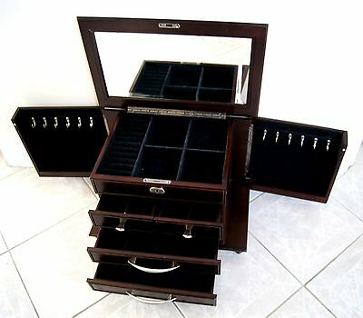 Large Wooden Jewelry Box,Black Velvet inside, LOCKABLE top lid,comes with 2 keys