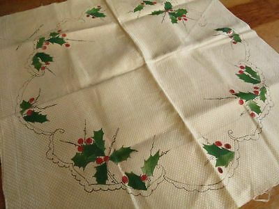 Antique Vtg Stamped Linen to embroider CHRISTMAS Holly Berry silk Large Doily