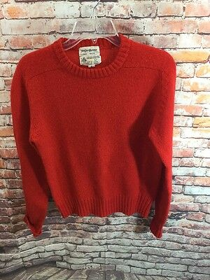 Vintage Yves Saint Laurent Womens Red 100% Wool Crewneck Sweater Small