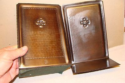 LARGE PAIR Roycroft Hammered Copper Bookends ARTS CRAFTS HAMMERED BRONZE MARKED