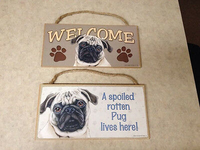 Set of 2 Pug Dog Themed Welcome Signs