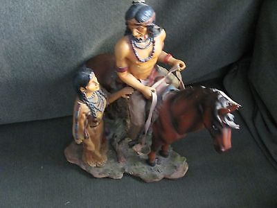 Native American Indian Family and Horse Figurine Statue Collectible