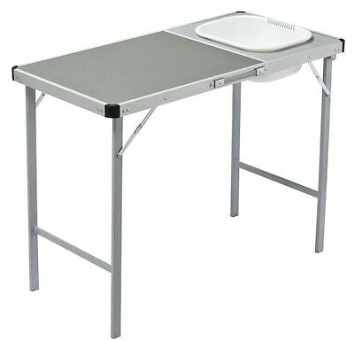 NEW OZtrail Camp Table with Sink and side pockets. Portable & compact.