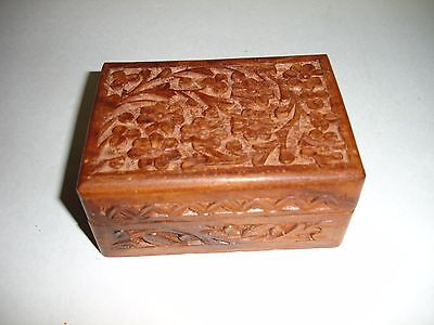 Vintage Rosewood Small Carved Wood Box Made In India