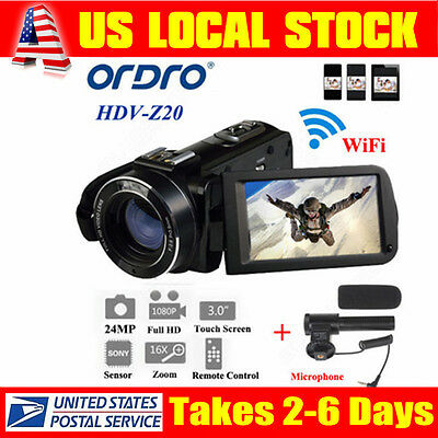 "US!ORDRO HDV-Z20 3"" LCD Screen Full HD 1080P WiFi Digital Video Camera Recorder"