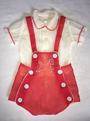 Antique Baby Outfit 2 Piece Red With Plastic Lining Size Large 24mo Kladezee