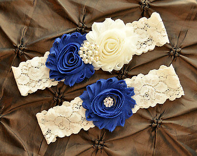 Handmade in Australia Wedding Garter Bridal Garter Royal Blue and Ivory Garter