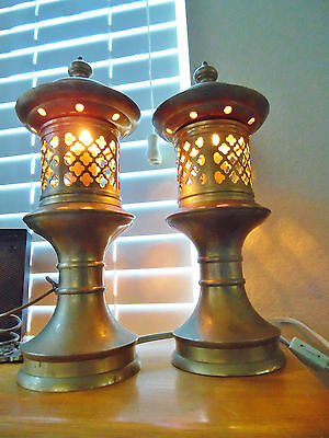 Vintage Pair Brass Pagoda Lamps