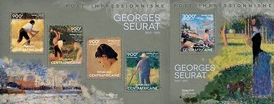 CA14412ab Central África 2014 Georges Seurat MNH JUEGO