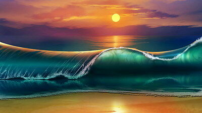 "017 GIANT WAVE - Sea Surfing 24""x14"" Poster"