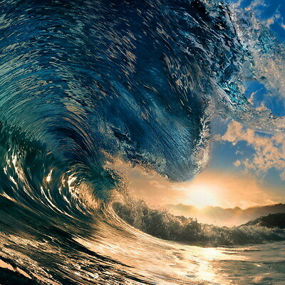 "022 GIANT WAVE - Sea Surfing 14""x14"" Poster"