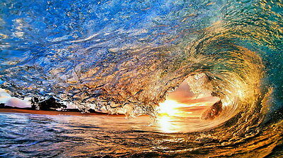 "013 GIANT WAVE - Sea Surfing 24""x14"" Poster"