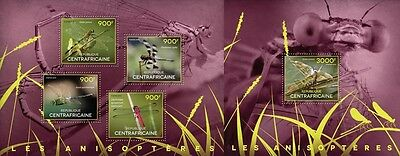 CA14513ab Central África 2014 Dragonflies MNH JUEGO