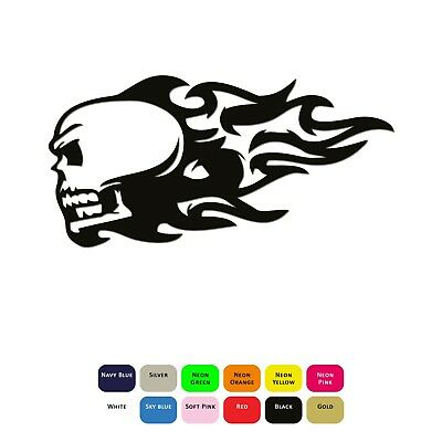 Flaming Skull Iron On T-Shirt Clothes Heat Vinyl Transfer Sticker HTV Decal