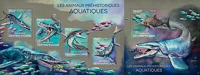 CA14614ab Central África 2014 Prehistórico water Animales animaux MNH JUEGO