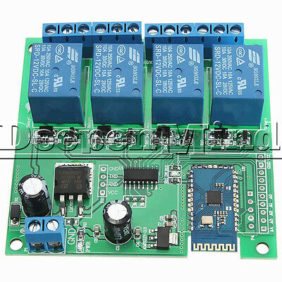 12V 4-CH Multifunction Bluetooth Relay Remote Control Switch For Android Mobile