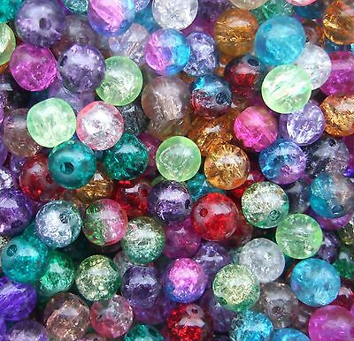100pcs 8MM Round Glass Crackle Beads Loose Jewellery Making 15 Colors Craft DIY