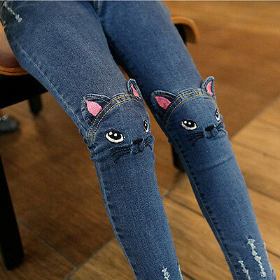 Cute Cat Pattern Kid Jeans High Quality Children Girls Pants Casual trousers 1pc