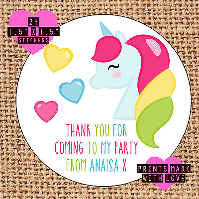 Unicorn princess party stickers 24 party bag stickers sweet cone labels RS1