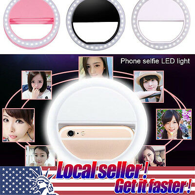 TX New Beauty Selfie LED Ring Flash Fill Light Clip Camera For Phone Samsung HTC