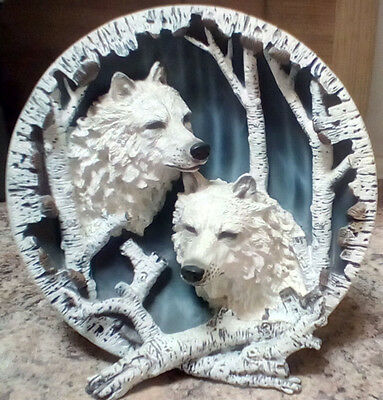 Very Rare Winter Wolves Blue Plate Birch Trees Wolf Plate
