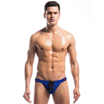 Mens Strap Waistband Lace Up Jockstrap Athletic Supporter T-back Thong Underwear