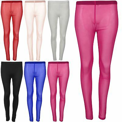 Womens Skinny Stretchy Mesh See Through Stretchy Full Ankle Length Leggings 8-14