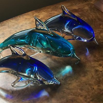 3 Beautiful Art Glass Dolphins
