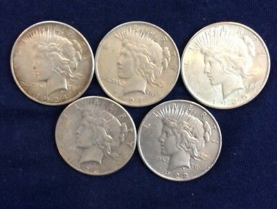 5 Peace Dollars Circulated Various Dates And Mint marks U