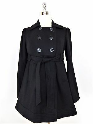 LIZ LANGE MATERNITY - Size 8 - Black Wool Blend Belted Peacoat