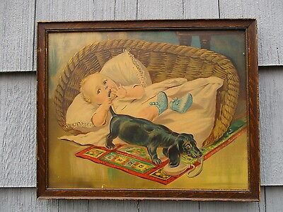 Large Antique Framed Color Chromo Print of Baby and Dog in Period Frame