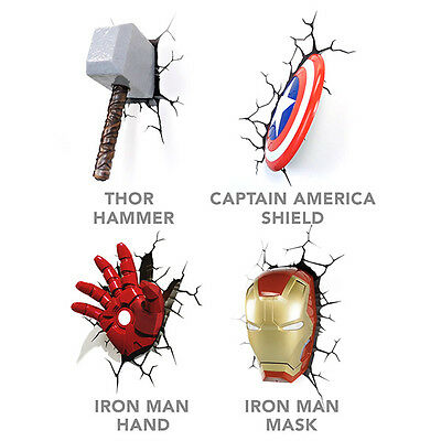 3D Deco Marvel Superhero Wall Lights