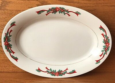 """14"""" Oval Serving Platter - Poinsettia & Ribbons -  Fine China"""