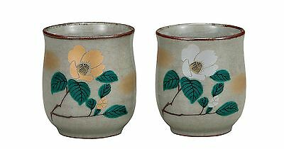 Kutani tea cup  Porcelain Japanese bowl Camellia (set of 2)