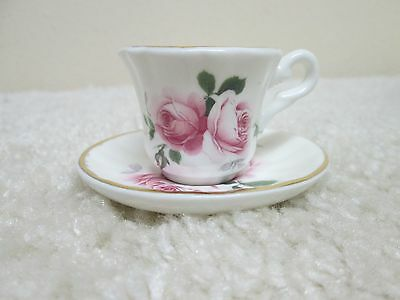 Fine Bone China Crown Staffordshire England Floral Tea Cup and Saucer Set mini
