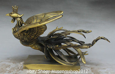 """12"""" Chinese Palace Copper FengHuang Phoenix Auspicious Bird Fly Animal Statue"""