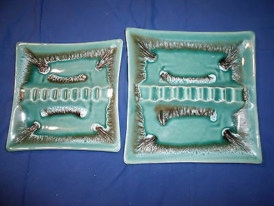 Vintage Ceramic Ashtray Lot of 2 -Made USA - Teal Drip Ash Tray Retro Square