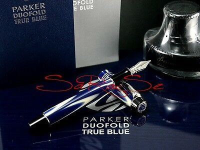 Parker Duofold True Blue Füller Fountain Pen Limited Edition 18Kt. Feder