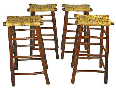 Set of 4 Old Hickory Bar Stools for Rustic Adirondack Camp, Lodge