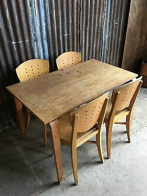 Vintage Old ESA Esavian Bentwood School Table Desk With 4 Chairs Retro Rustic