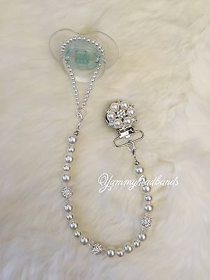 New Girl Pacifier Holder Clip Colorful Beads Handmade Rhinestone Baptism DIY