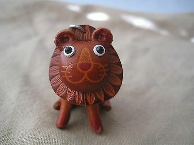 Lion Handmade 3D Leather Keychain Bag Charm Key Chain Ring