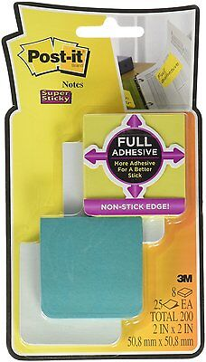Post-it Super Sticky Full Adhesive Notes, 2 in x 2 in size, Bora Bora 8