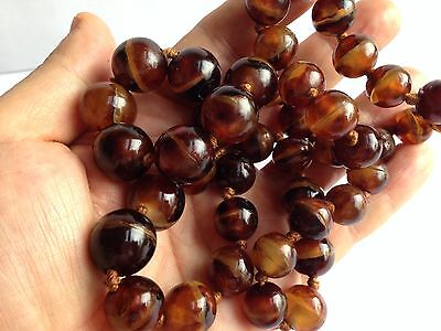 RARE Chinese Faux Tortoiseshell Tortoise Shell Necklace Large Beads Long Flapper