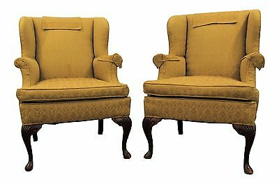Pair of Queen Anne Fireside Wing back Chairs